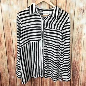 Black White Stripe Blouse 16 Long Sleeve Button Up